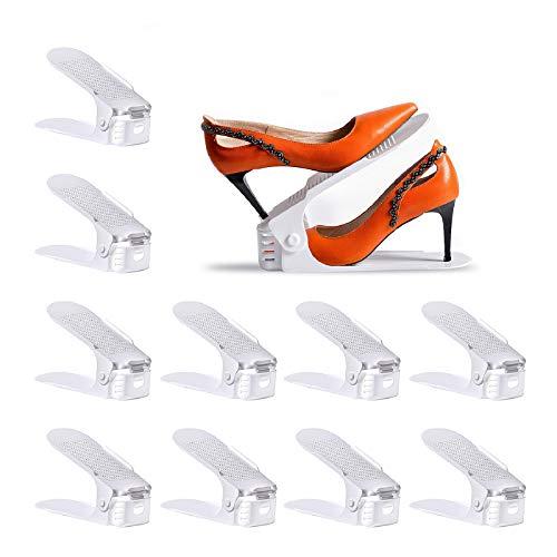 Yashong Shoe Slots Organizer, 10PCS Adjustable Double Layer Stack Shoe Rack , 50% Space-Saving Storage Rack Holder, White