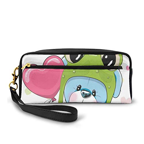 Pencil Case Pen Bag Pouch Stationary,Cartoon Puppy in Frog Hat with Balloon on Heart Valentines Love Animal Print,Small Makeup Bag Coin Purse