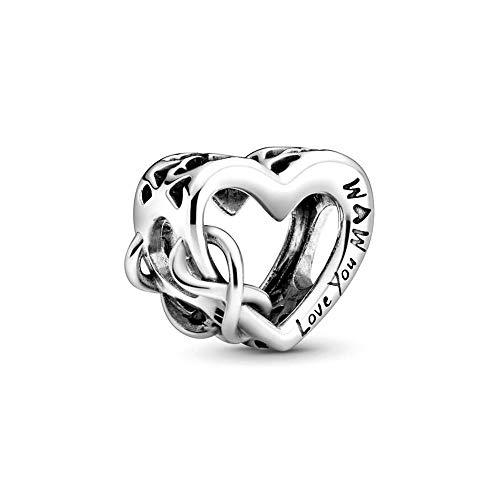 """Pandora """"Love You Mum"""" Unendlichkeits-Herz Charm, Silber, 1,14cm, 798825C00"""
