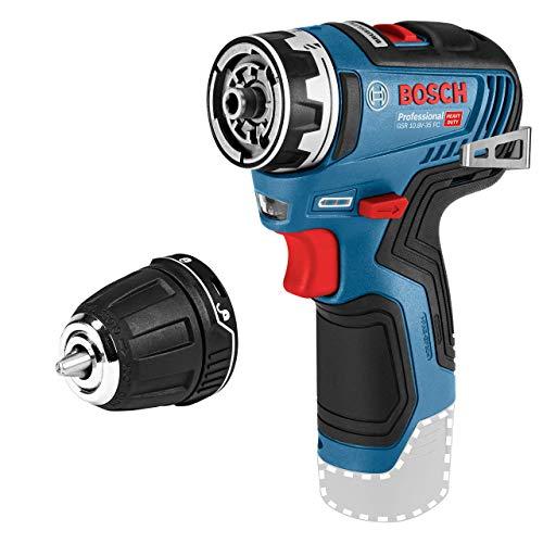 Bosch Professional 06019H3002 12V Akkuschrauber GSR 12V-35 FC Set (ohne Akku, System, inkl. 1 FlexiClick Aufsatz, max. Bohr∅ Holz/Stahl: 32/10 mm, in L-BOXX), 12 V, blau