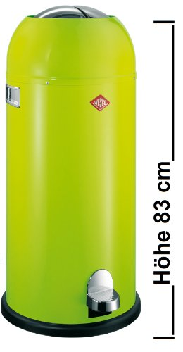 Wesco Mülleimer Kickmaster Maxi, Abfallsammler, Tretabfallsammler, Stahlblech, Limegreen, 40 L, 180731-20