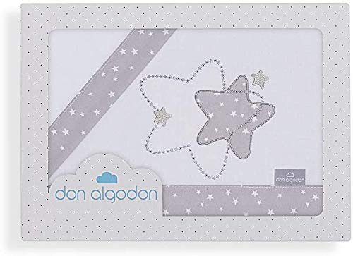Danielstore-Sabanas Cuna 60x120 algodon 100% - (bajera+encimera+funda almohada) (Izar Bco gris)