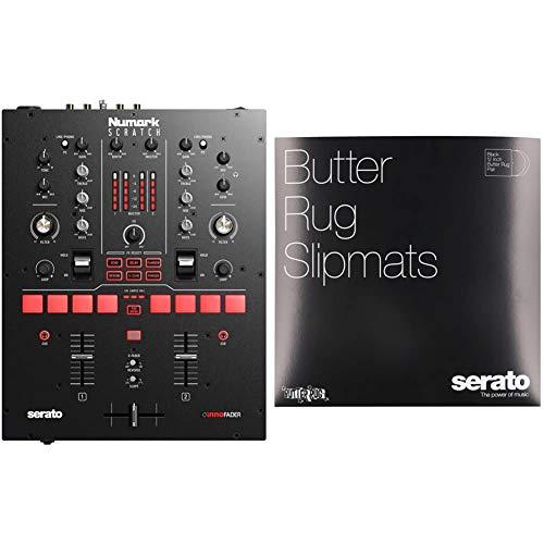 Numark Scratch | Two-Channel DJ Scratch Mixer for Serato DJ Pro (included) & Serato DJ Slipmat (OSA-SM-BLK-BR)