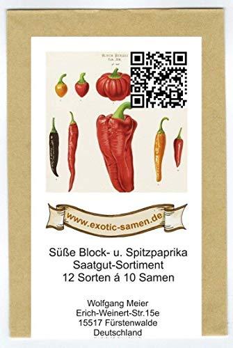 Samen - Saatgutsortiment - Set - Mix - Mischung - Peperoni - Gemüsepaprika, Minipaprika und milde Chilis - 12 Sorten á 10 Samen