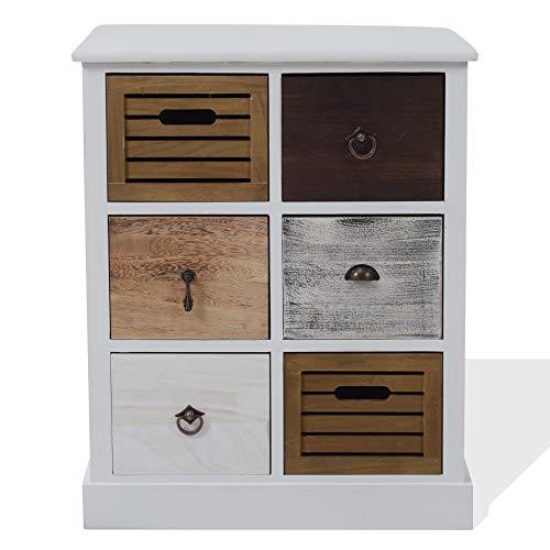 Rebecca Mobili Schubladenkommode Schrank 6 Schubladen Holz Braun Weiß Grau Vintage Schlafzimmer Flur - 68 x 56 x 27 cm (HxBxT) - Art. RE4615