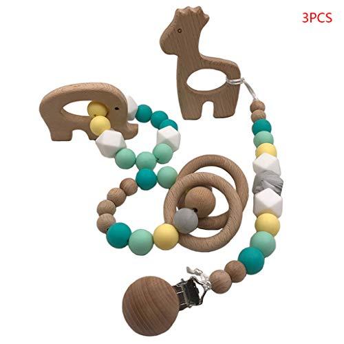 Eliky 3-delig/set baby teppel clip siliconen fopspeen armband Multicolor