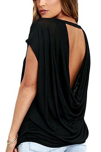 T Shirt Femme Dos Nu Été Col V Manche Courte/Longues Sexy Tee Shirt Top Haut Black L