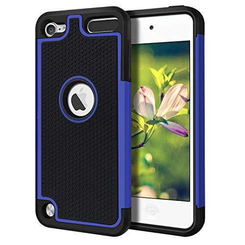 Case for iPod Touch 7 6 5 Cover 2 in 1 Shockproof Anti-Scratch Case for iPod Touch 7th 6th 5th Generation (Blue)