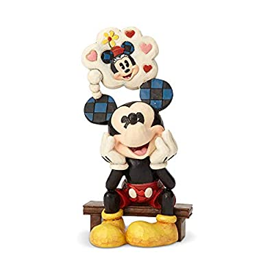 Enesco Disney Traditions by Jim Shore Mickey Mouse with Minnie Love Thought Figurine, 6.89 Inch, Multicolor