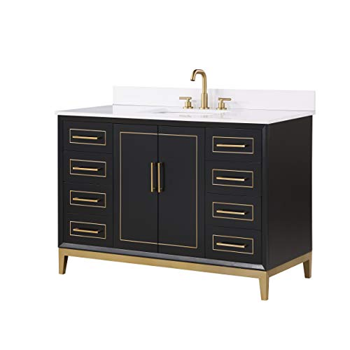 """Gracie 48"""" Bathroom Vanity and Sink Set, Midnight Black with White Granite Counter Top and Ceramic Undermount Sink"""