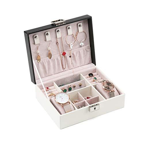 ZRL Caja organizadora de joyería con cerradura de gran capacidad, organizadores de relojes, anillos, pendientes, caja de almacenamiento (color: negro)