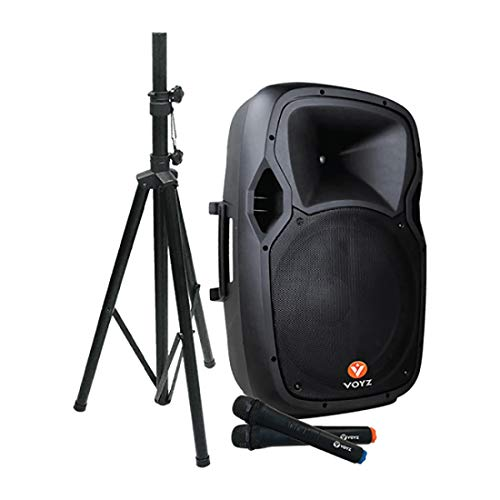 """VOYZ 1000 Watt Bluetooth Speaker System Battery Powered Rechargeable, Two Way 15"""" Portable Loudspeaker USB, SD, and MP3 Player, Tripod Stand and 2 Wireless Microphones Perfect for Karaoke (VZ-AB515-P)"""