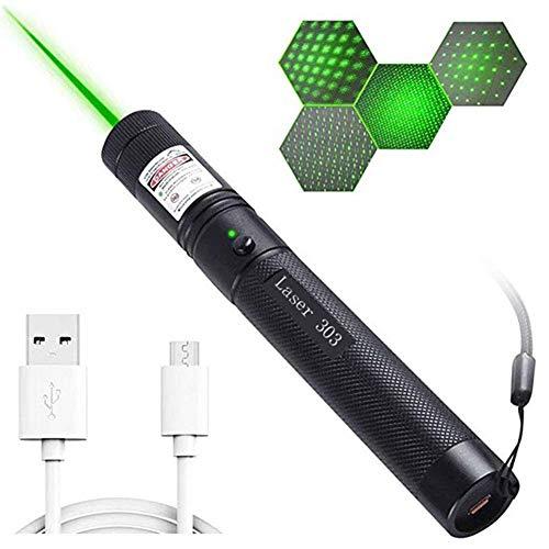 HAOXUAN Mini Linterna 303, Linterna LED Recargable USB roja/Verde/púrpura, bolígrafo táctico de Alta Potencia súper Brillante y Potente, Adecuado para Acampar y Caminar,Verde