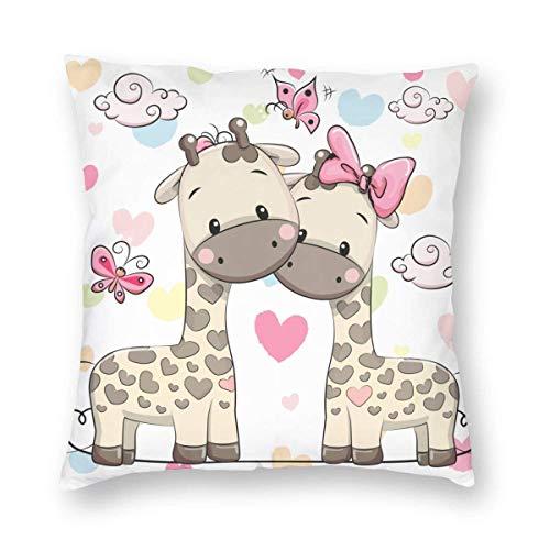 Funda de almohada impresa con diseño de dos lados, lindas jirafas en puro amor de San Valentín con mariposas y corazones, lazos artísticos, funda de almohada cuadrada, funda de cojín para sofá, decora