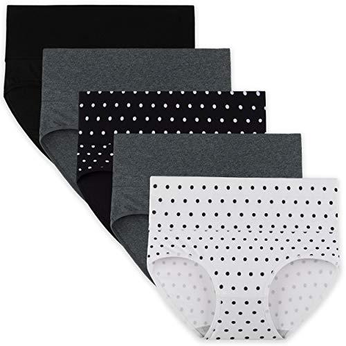 INNERSY Bragas Mujer de Algodón Ropa Interior de Cintura Alta Cómoda y Sexy Braguitas Pack de 5 (XL-EU 44, 2Lunares+2Gris Oscuro+1Negro)