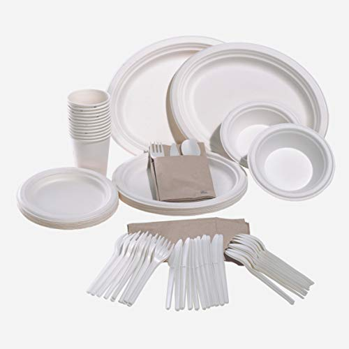 Vajilla de Color Blanco, caña de azúcar o bagazo, 100% Biodegradable y Completamente compostable. Ideal para Fiestas Eventos Bodas Picnic barbacoas Catering. (Vajilla 88 Piezas. 12 Personas)