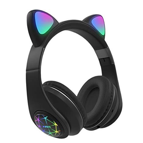 TISHITA Bonitos auriculares portátiles plegables con orejas de gato conectados por Bluetooth con luz LED de 3,5 mm conector estéreo sonido para iOS Android Hombres Mujeres – Negro
