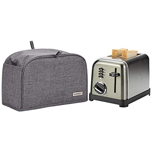 HOMEST 2 Slice Toaster Cover with Pockets, Can Hold Jam Spreader Knife & Toaster Tongs, Dust and Fingerprint Protection, Machine Washable, Grey