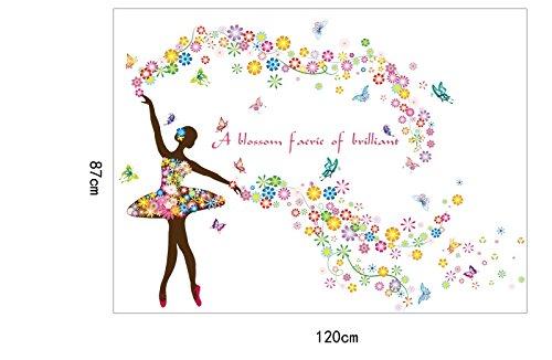 Wandtattoo Wandaufkleber Wandsticker Bunte Ballett Tänzerin Farben 87 x 120 W229 Viwaro