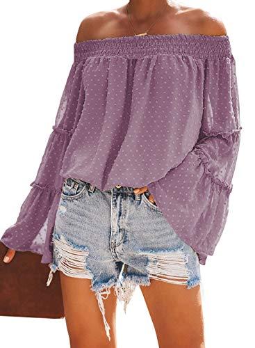 KIRUNDO 2020 Women's Spring Summer Chiffon Blouse Off Shoulder Swiss Dot 3/4 Bell Sleeves Ruffle Tunic Top (Small, Purple)