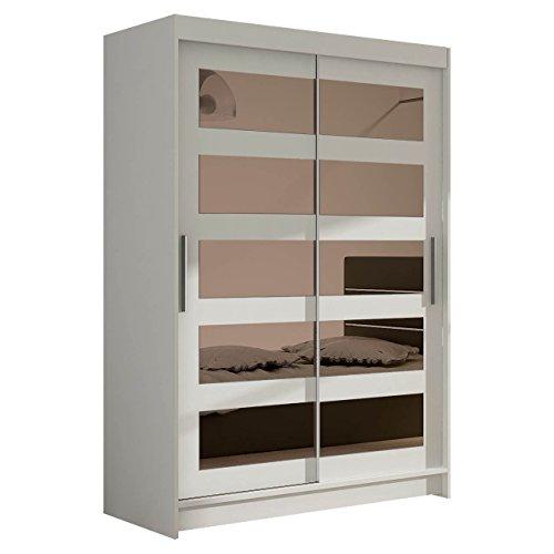 Kleiderschrank Schwebetürenschrank Miami IV mit Spiegel, Modernes Schlafzimmerschrank, Schiebetürenschrank, Garderobe, Schlafzimmer (Weiß)