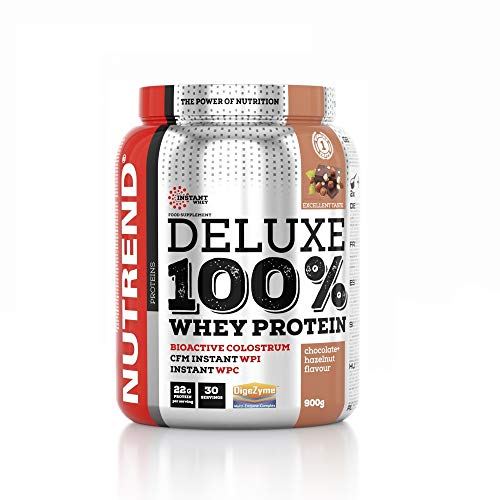 Whey Protein Deluxe 100% by Nutrend Flavor Chocolate Helznut 2250g great amino acid (BCAA) composition quickly digestible WPC isolate WPI CFM contribute to muscle growth