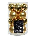 16 bolas de cristal dorado claro para árbol de Navidad