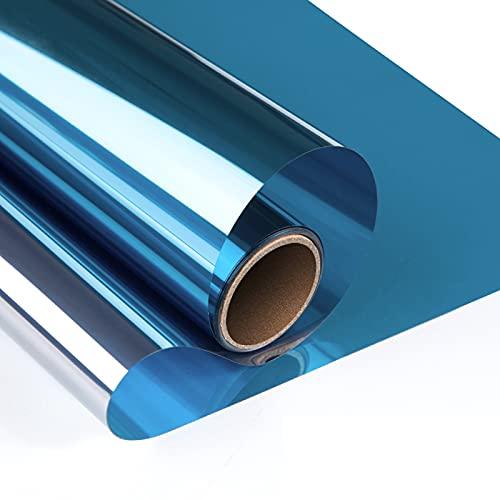 YngFfb Película Reflectante Para Ventanas, Película Espejo Ventanas, Película De Ventana De Control Solar Adhesivo Adhesivo Anti Uv Para Oficina En Casa (40 x 500cm,Azul)