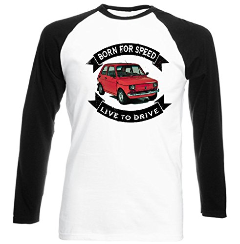 TEESANDENGINES Men's Polish Maluch Polish FIAT 126P RED Born for SPEE Black Long Sleeved T-Shirt Size Large