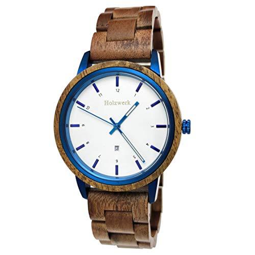 Holzwerk Germany, orologio da polso unisex realizzato a mano, in legno ecologico, analogico, classico, al quarzo, marrone, blu, bianco