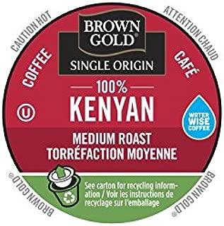 Brown Gold Single Origin Coffee Capsules, 100% Kenyan, Medium Roast, Compatible with Keurig K-Cup Brewers, 24 Count