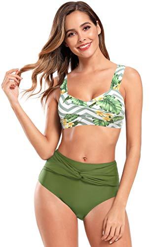 SHEKINI Damen Blumen Weste Bikini Set Crossover Bandeau Breite Träger Einfarbige Hose mit Hoher Taille Bauchweg Schicke Strandmode Große Größen für Frauen