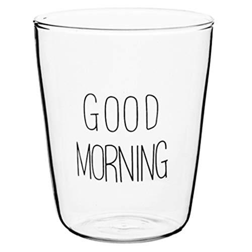 Verres Verre tasse créative Good Morning tasse de petit-déjeuner transparente tasse de fleurs/tasse de boissons fraîches tasse de jus (Color : B, Size : M)