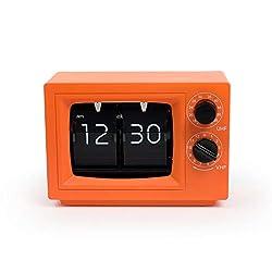 mooas TV Flip Desk Clock 3 Colors, Flip Clock, Flip Desk Clock (Orange)