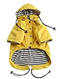 WATER RESISTANT: Completely water resistant and will keep your dog safe and dry in all weather conditions. DOUBLE LAYERED DESIGN: Double layered zip up raincoat with additional buttons makes putting this coat on easy as well as adjustable and stylish...