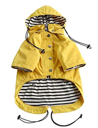 Pethiy Dog Raincoat Stylish Premium Dog Raincoats-Small Dog Raincoat Waterproof Zip Up Pockets, Rain/Water Resistant,Adjustable Drawstring-Yellow-XXL