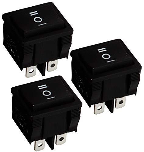 Aerzetix: 3 x Schalter Kippschalter Schwarz DP3T ON-OFF-ON 6 A/250 V 3 Positionen C10664