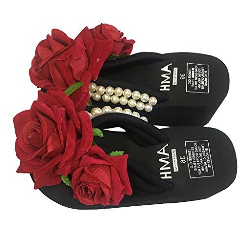 Deloito Damen Mädchen Mode Baumwollfabrik Perle mit Blumen Keile Flip Flops Einfarbig Sandalen Draussen Freizeit Hausschuhe Runder Zeh Strandschuhe (Schwarz,38 EU)