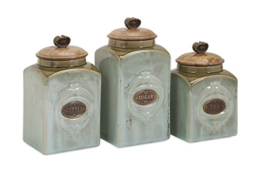 Imax 73327-3 Addison Ceramic Canisters – Tea Coffee Sugar Canisters, Vintage Inspired, Canister Storage Vault. Handcrafted Kitchenware