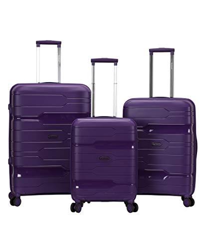 Rockland Linear 3-Piece Hardside Spinner Wheel Luggage Set, Purple