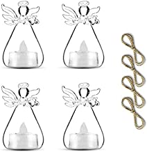 Sziqiqi Pack of 3 Hanging Glass Candle Holders Angel Candleholders with Led Tealight Candle Inside Votive Decoration for Wedding Party Restaurant Hotel Garden Decoration (3 Pcs + 1 Pcs)