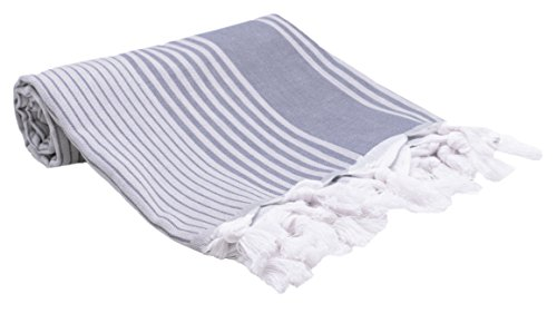 ZOLLNER Toalla Playa Pareo Mujer, 90x170 cm, algodón, azúl