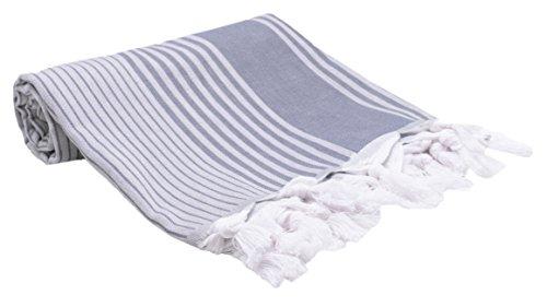ZOLLNER Strandtuch Hamamtuch aus Baumwolle, 90x170 cm, Blau