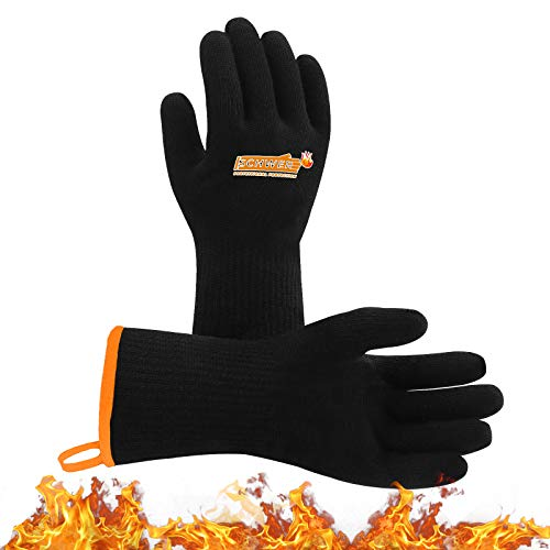 Schwer Odorless BBQ Grill Gloves Waterproof&Oilproof 932°F Heat Resistant Gloves Barbecue Grilling Gloves for Turkey Fryer, Smoker, Baking, Boiling, Heat Cooking (M)