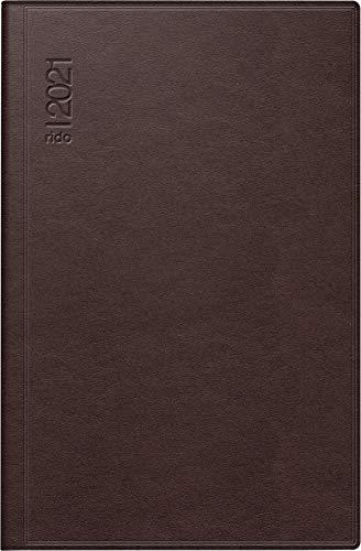 rido/idé 7016168271 Taschenkalender partner/Industrie I, 2 Seiten = 1 Woche, 72 x 112 mm, Leder-Einband dunkelrot, Kalendarium 2021