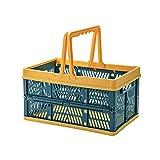 BINGFANG-W Cesta de Almacenamiento Plegable Plástico Portátil Supermercado Cesta de Compras Fruta y Verduras Bocado Bocado Cesta de Picnic al Aire Libre cámping (Color : Green Yellow)