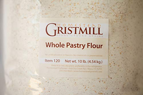 Homestead Gristmill — Non-GMO, Chemical-Free, All-Natural, Stone-ground Whole Pastry Flour (10 lb), Artisanally Milled from Soft White Wheat Berries