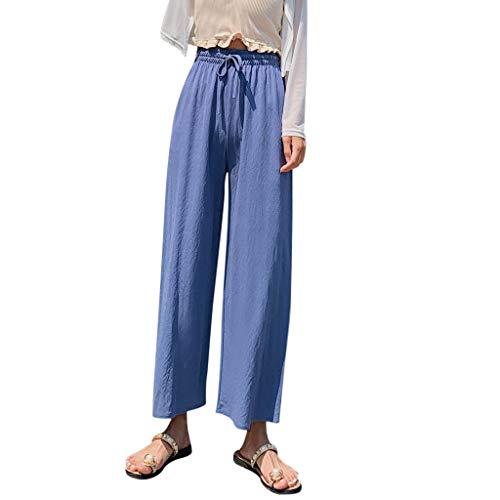 WOZOW Weites Bein Palazzo Hosen Freizeithose Damen Capri Solid Einfarbig Casual Lose Lang Long High Waist Straight Arbeitskleidung Fashion Geschenk Crop Trousers Stoffhose (M,Blau)
