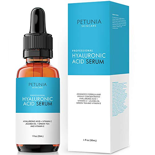 Hyaluronic Acid Serum with Vitamin C For Face, Hydrate and Plump Dry Skin, Boost Collagen, Anti Aging Diminish Fine Lines and Wrinkles, Natural & Organic Vegan Ingredients, 1 fl oz
