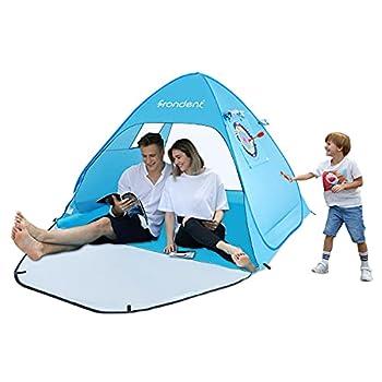 Tente Anti UV Abri de Plage Outdoor Beach Tent Pop Up avec Protection Solaire UV UPF 50+ pour 2-3 Personnes Instantanée Portable Escamotable Comprend Un Sac de Transport et des Piquets Bleu
